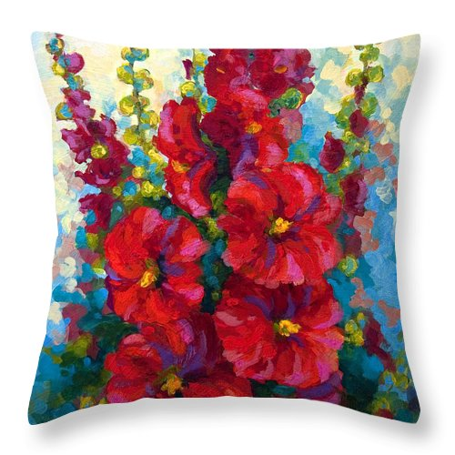 Floral Throw Pillow featuring the painting Hollyhocks by Marion Rose