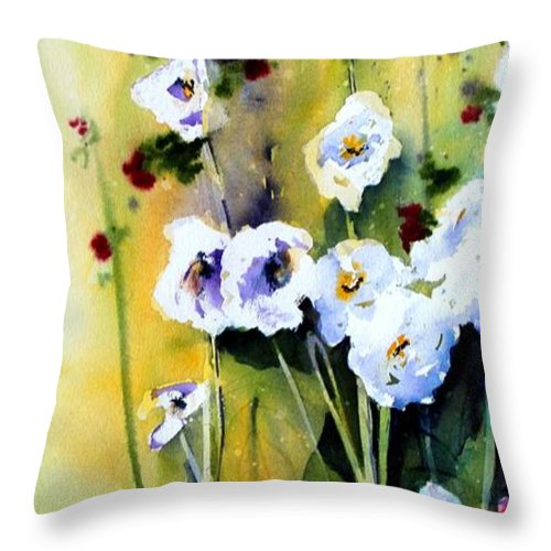 Hollyhock Throw Pillow featuring the painting Hollyhocks by Marti Green