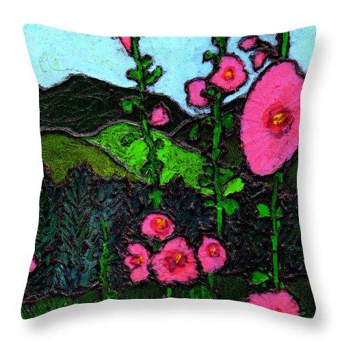 Hollyhocks Throw Pillow featuring the painting Hollyhocks by Wayne Potrafka