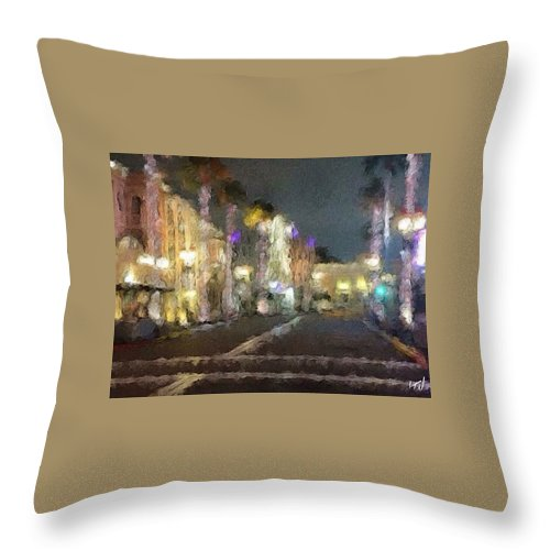 Street Hollywood Universal Landscape City Town Urban Dream Distortion Throw Pillow featuring the painting Hollywood Dream by J Wagner