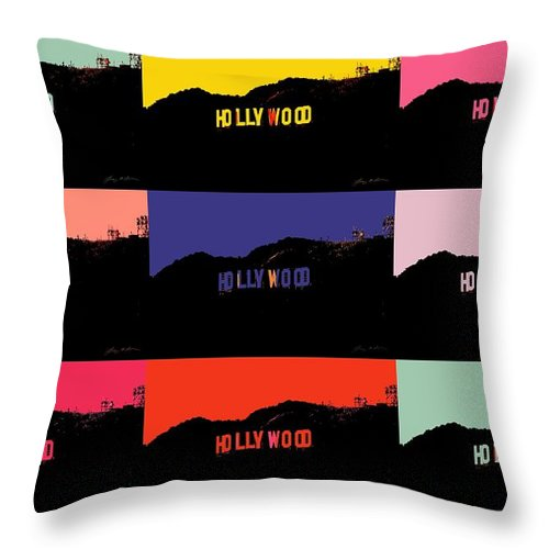 Hollywood Throw Pillow featuring the digital art Hollywood Poster Art by Tommy Anderson