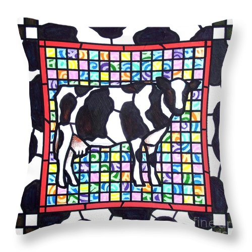 Cattke Throw Pillow featuring the painting Holstein 3 by Jim Harris
