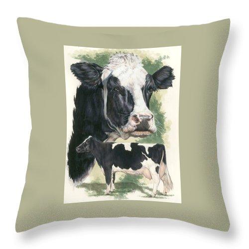 Farm Animal Throw Pillow featuring the mixed media Holstein by Barbara Keith
