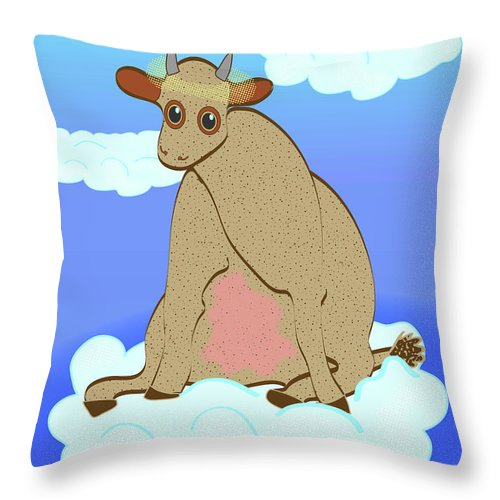 Holy Cow Throw Pillow featuring the digital art Holy Cow by Laura Brightwood