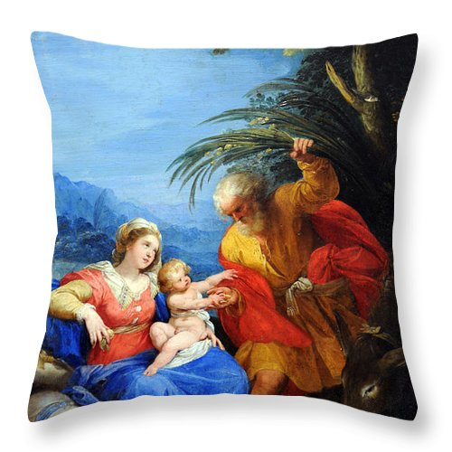 Jesus Throw Pillow featuring the photograph Holy Family by Munir Alawi