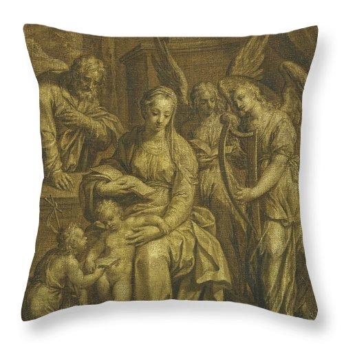 Attributed To Hendrik De Clerck Throw Pillow featuring the painting Holy Family With Angels by Attributed to Hendrik de Clerck