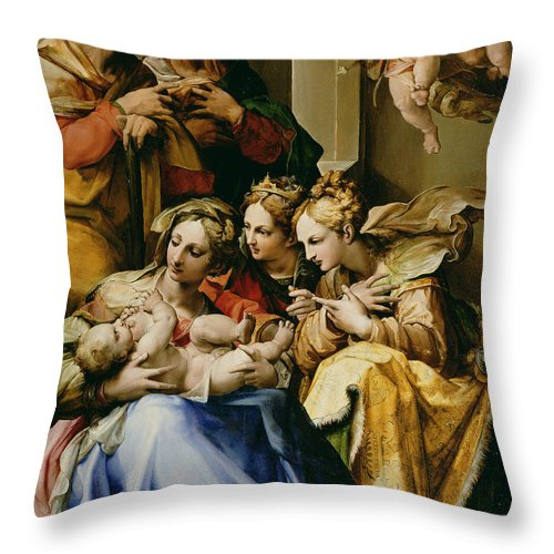 Christmas Throw Pillow featuring the painting Holy Family With Saint Anne Catherine Of Alexandria And Mary Magdalene by Nosadella
