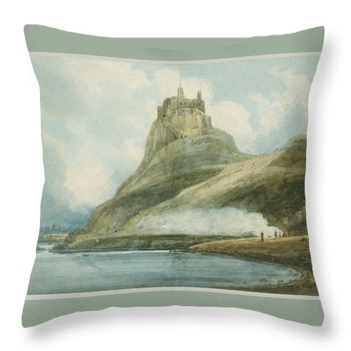 Lindisfarne Castle Throw Pillow featuring the painting Holy Island by Thomas Girtin