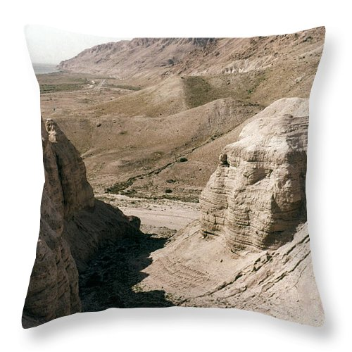 Ancient Throw Pillow featuring the photograph Holy Land: Qumran Caves by Granger