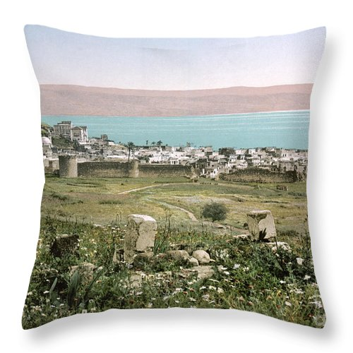 1895 Throw Pillow featuring the photograph Holy Land: Tiberias by Granger