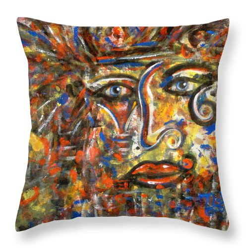 Free Expressionism Throw Pillow featuring the painting Holy Man by Natalie Holland