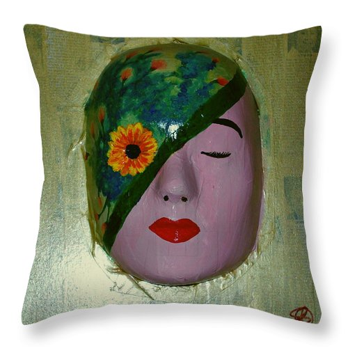 Gold Throw Pillow featuring the painting Homage One by Laurette Escobar