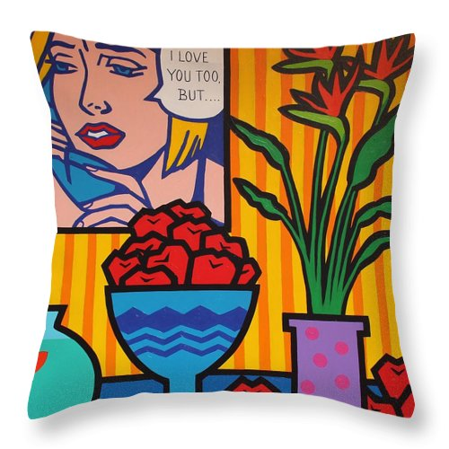 Matisse Throw Pillow featuring the painting Homage To Lichtenstein And Wesselmann by John Nolan