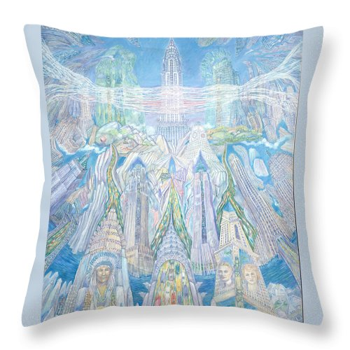New York Cityscape Throw Pillow featuring the painting Homage To New York And The Chrysler Building by Patricia Buckley