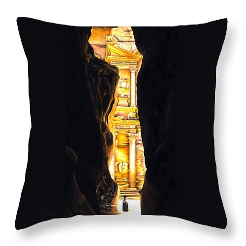 Bellydancer Throw Pillow featuring the painting Homage To Petra by Richard Young