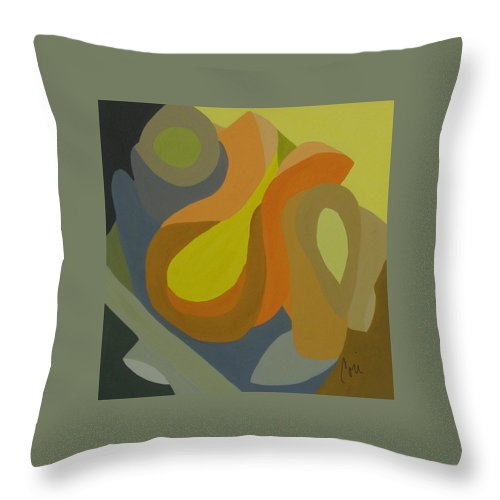 Abstract Throw Pillow featuring the painting Homage To The 70's by Cori Solomon