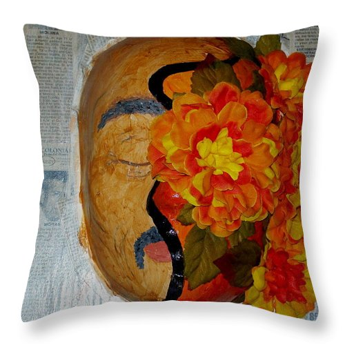 Mask Throw Pillow featuring the painting Homage Two by Laurette Escobar