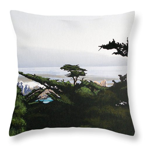 Lone Cypress Throw Pillow featuring the painting Home By The Sea by Joe Roselle