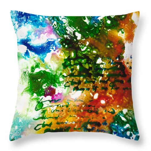 Abstract Throw Pillow featuring the mixed media Home For Christmas by Susan Kubes