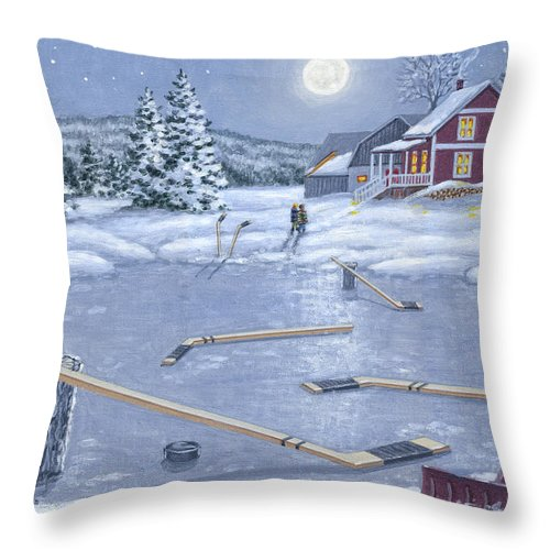 Hockey Throw Pillow featuring the painting Home For Supper by Richard De Wolfe