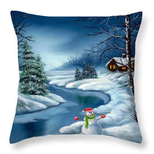 Holidays Throw Pillow featuring the painting Home For The Holidays by Daniel Carvalho