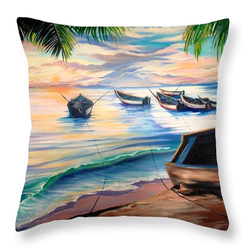 Ocean Painting Caribbean Painting Seascape Painting Beach Painting Fishing Boats Painting Sunset Painting Blue Palm Trees Fisherman Trinidad And Tobago Painting Tropical Painting Throw Pillow featuring the painting Home From The Sea by Karin Dawn Kelshall- Best