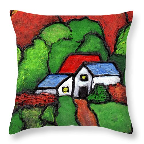 Rural Throw Pillow featuring the painting Home In The Country by Wayne Potrafka