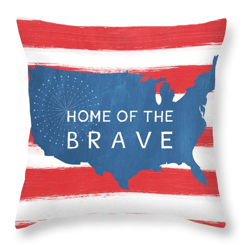 July 4th Throw Pillow featuring the painting Home Of The Brave by Linda Woods