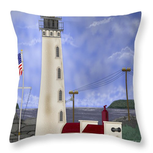 Lighthouse Throw Pillow featuring the painting Home Port by Anne Norskog
