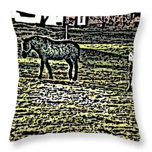Horses Throw Pillow featuring the photograph Home Sweet Home by Crystal Webb