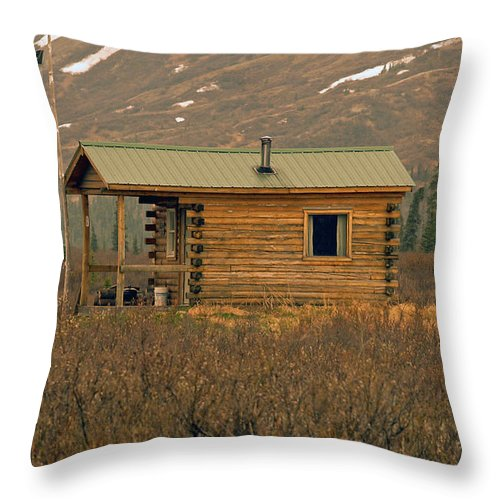 Log Cabin Throw Pillow featuring the photograph Home Sweet Fishing Home In Alaska by Denise McAllister