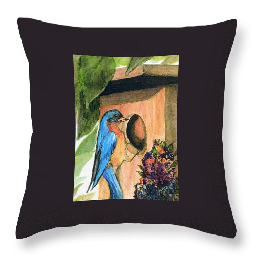 Bluebirds Throw Pillow featuring the painting Home Sweet Home by Gail Kirtz
