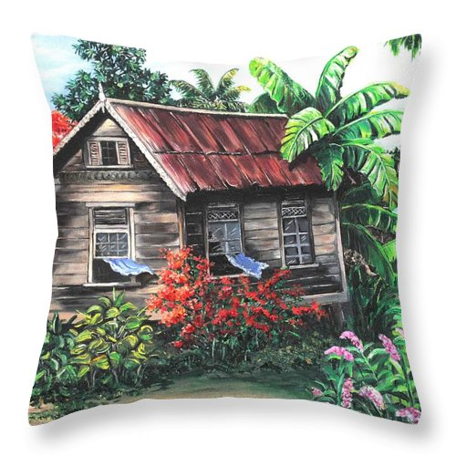 Caribbean House Throw Pillow featuring the painting Home Sweet Home by Karin Dawn Kelshall- Best