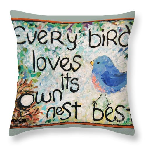 Garden Art Throw Pillow featuring the painting Home Sweet Home by Peggy Johnson