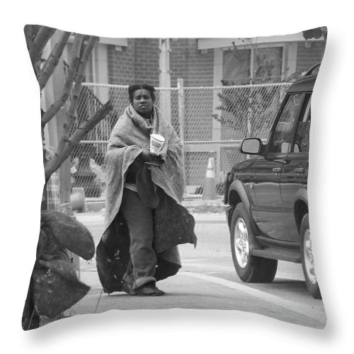 Homeless; Beg; Begging; Beggar; Poor; Destitute; Want; Need; Sad; Depressed Throw Pillow featuring the photograph Homeless by Francesa Miller