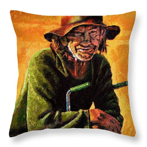 Homeless Man With Bike Throw Pillow featuring the painting Homeless by John Lautermilch