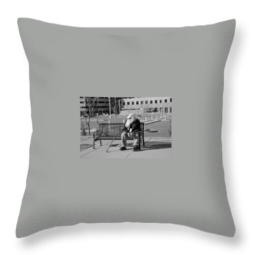 Portrait Throw Pillow featuring the photograph Homeless Man by Angus Hooper Iii