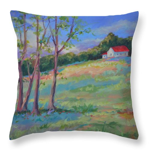 Pastoral Landscapes Throw Pillow featuring the painting Homeplace by Ginger Concepcion