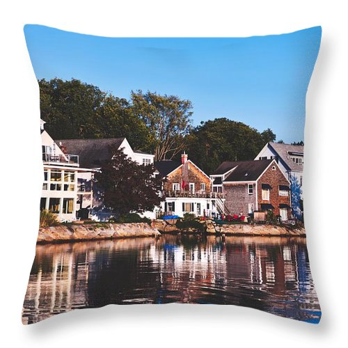 Kennebunkport Throw Pillow featuring the photograph Homes On Kennebunkport Harbor by Library Of Congress