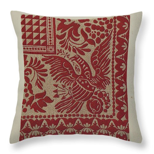 Throw Pillow featuring the drawing Homespun Coverlet by Alexander Chudom