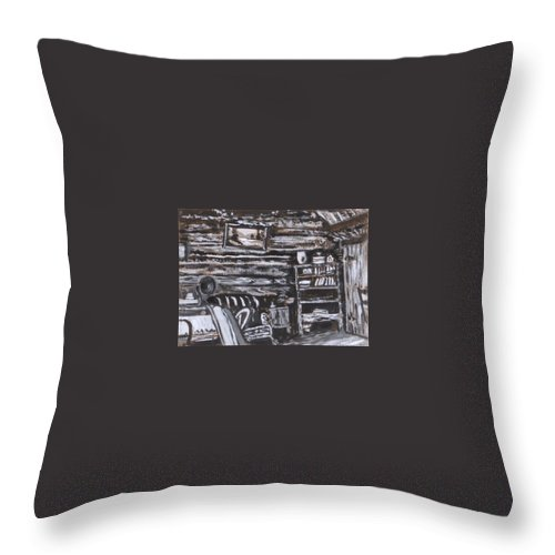 Western Throw Pillow featuring the painting Homestead Interior Historical Vignette by Dawn Senior-Trask