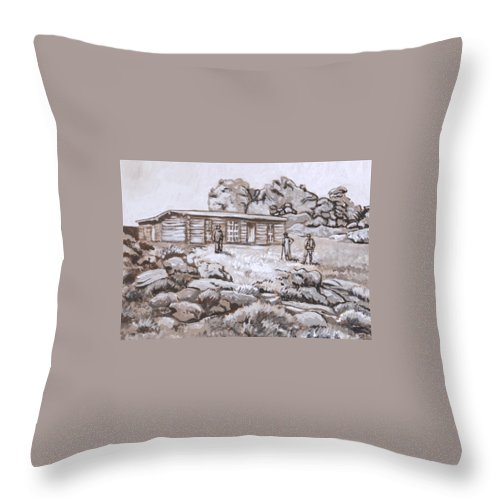 Western Throw Pillow featuring the painting Homestead On Brush Creek Historical Vignette by Dawn Senior-Trask
