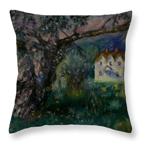 Landscape Throw Pillow featuring the painting Homestead by Stephen King