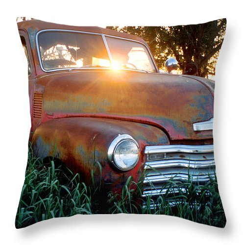 1954 Truck Throw Pillow featuring the photograph Homestead Truck by Jerry McElroy