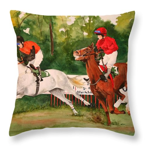 Racing Throw Pillow featuring the painting Homestretch by Jean Blackmer