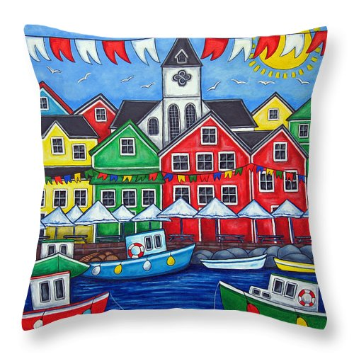 Boats Canada Colorful Docks Festival Fishing Flags Green Harbor Harbour Throw Pillow featuring the painting Hometown Festival by Lisa Lorenz