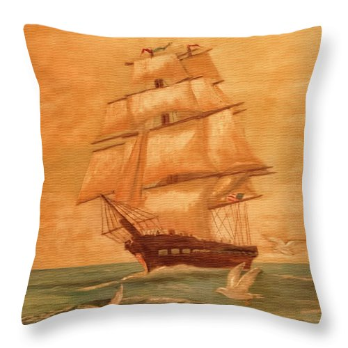 Sailing Throw Pillow featuring the photograph Homeward Bound by John Welling