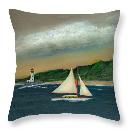 Ocean Seascape Sailboat Lighthouse Shoreline Nature Travel Gordon Beck Art Throw Pillow featuring the painting Homeward by Gordon Beck