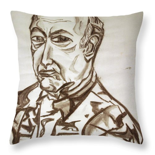Military Throw Pillow featuring the painting Homme Militaire by Robert SORENSEN