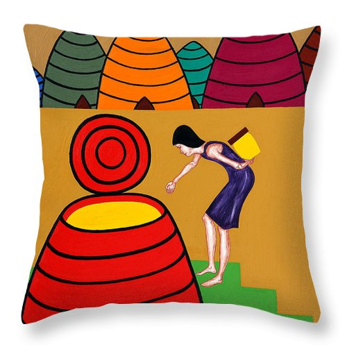 Honey Throw Pillow featuring the painting Honey 2 by Patrick J Murphy